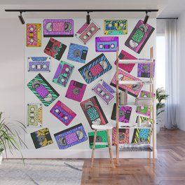 Retro 80's 90's Neon Patterned Cassette Tapes Wall Mural