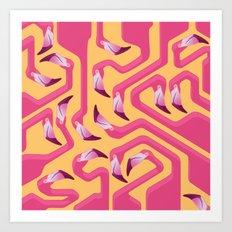 Flamingo Maze Art Print