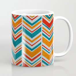 Teal, Red and Goldenrod chevron Coffee Mug