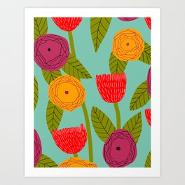 Sunny day bright floral Art Print