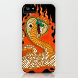 Striking Cobra with Flames iPhone Case