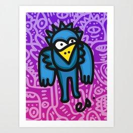Blue Bird Graffiti Art Purple Street Art by Emmanuel Signorino Art Print