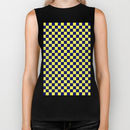 Electric Yellow and Navy Blue Checkerboard Biker Tank