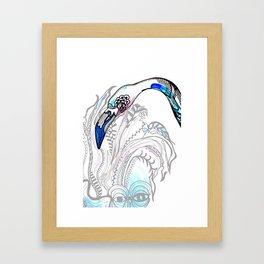 Blue Flamingo Illustration Framed Art Print