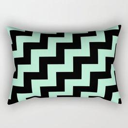 Black and Magic Mint Green Steps RTL Rectangular Pillow