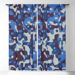 Blue & Burgandy Camo Pattern Blackout Curtain