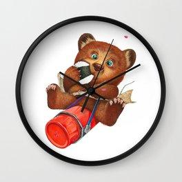 A little bear having a picnic lunch Wall Clock