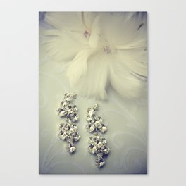 Diamnond / Crystal Earrings and feather flower Canvas Print