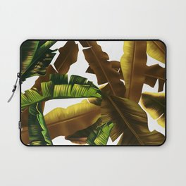 tropical banana leaves pattern gold Laptop Sleeve