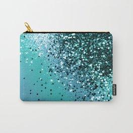 Aqua Blue OCEAN Glitter #1 #shiny #decor #art #society6 Carry-All Pouch