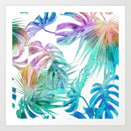 Simply Palm Leaves in Hologram Island Art Print