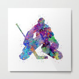 Boy Ice Hockey Goalie 2 Colorful Gift Watercolor Sports Art Metal Print