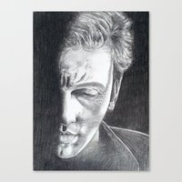 springsteen Canvas Prints featuring Brilliant Disguise - Springsteen by Roisin Mallon