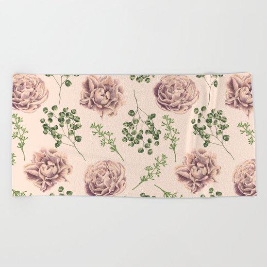 Rose Pattern Light Pink + Green Beach Towel