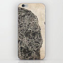 lisbon map ink lines iPhone Skin