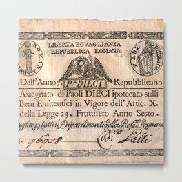 Assegnato da 10 paoli, emesso nell'anno 7. repubblicano (1798) Metal Print