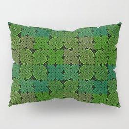 Vintage 70's Moss Green Geometric Tapestry Print Pillow Sham