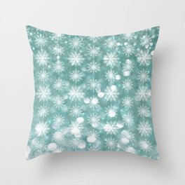 Holiday Teal and Flurries Throw Pillow