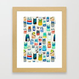 Lots of Watercolor Kitty Cats Framed Art Print