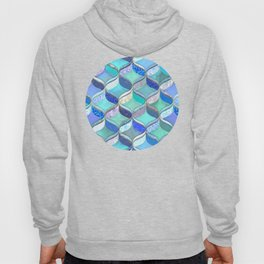Patchwork Ribbon Ogee Pattern in Blues & Greens Hoody