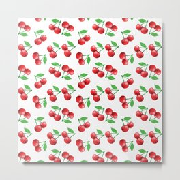 Cherries Pattern Cherry Print Fruit Pattern Metal Print