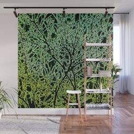 Tangled Tree Branches in Leaf and Lime Green Wall Mural