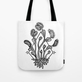 Venus Flytrap Black Line Design Tote Bag