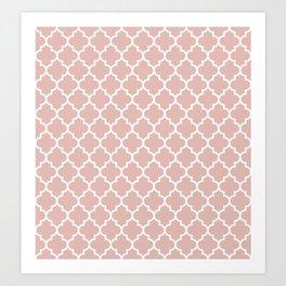 White Moroccan Quatrefoil On Rose Gold Pink Art Print