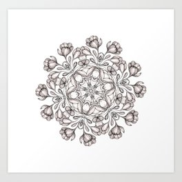 light broun flowers mandala Art Print