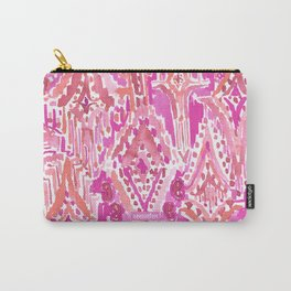 SUNSET DROPS OF WONDER Pink Ikat Watercolor Tribal Carry-All Pouch