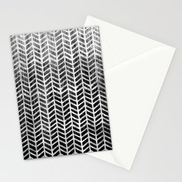 Herringbone & Teak (Black & White) Stationery Cards