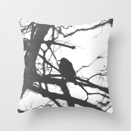 Bird Silhouette Black and White Photography Throw Pillow