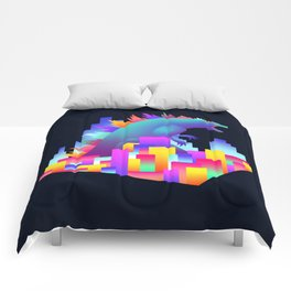 Neon city Godzilla Comforters