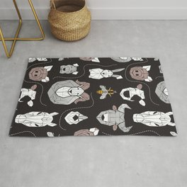 Friendly Geometric Farm Animals // black background black and white brown grey and yellow pigs queen bees lambs cows bulls dogs cats horses chickens and bunnies Rug