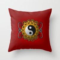 yin yang Throw Pillows featuring Yin Yang by Pedro Vale