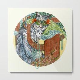 Masked Lynx Metal Print