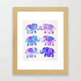 Elephant Collection – Indigo Palette Framed Art Print