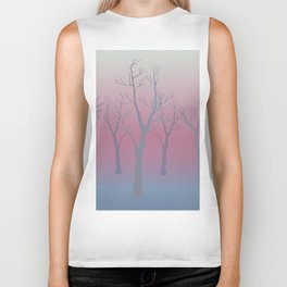 Winter landscape with trees Biker Tank