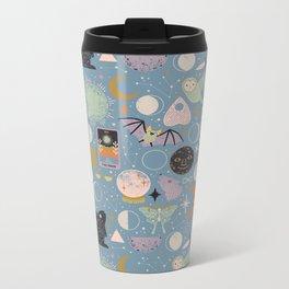 Lunar Pattern: Blue Moon Metal Travel Mug