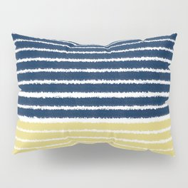 Gold and Navy Blue brush Strokes Pillow Sham