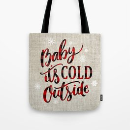 Baby It's Cold Red Buffalo Plaid Tote Bag