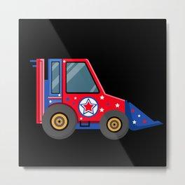 Backhoe for kids with US flag stars Metal Print
