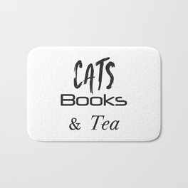 Cat Shirt,Cats,Books, Tea, Cat Lover Gift,Cat Tshirt,Cat, Tea, Tea and Cats, Cat Gift, Book Love Bath Mat