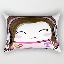 Kawaii Headphones Girl Rectangular Pillow
