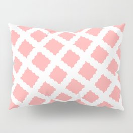 Coral Pink & White Diagonal Grid Pattern - Black & Pink - Mix & Match with Simplicity of Life Pillow Sham