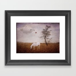 If you Dream - surreal horse photo, fantasy, balloon birds landscape textured painterly dreamy Framed Art Print