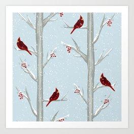 Red Cardinal Bird In The Winter Forest Art Print