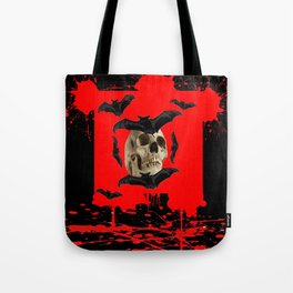 BAT INFESTED HAUNTED SKULL ON BLEEDING RED ON RED  ART Tote Bag
