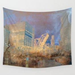 Drawbridge Chicago River City Skyline Wall Tapestry