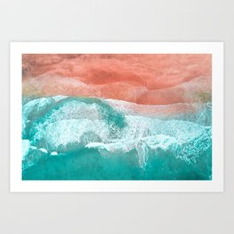 The Break - Turquoise Sea Pastel Pink Beach Art Print